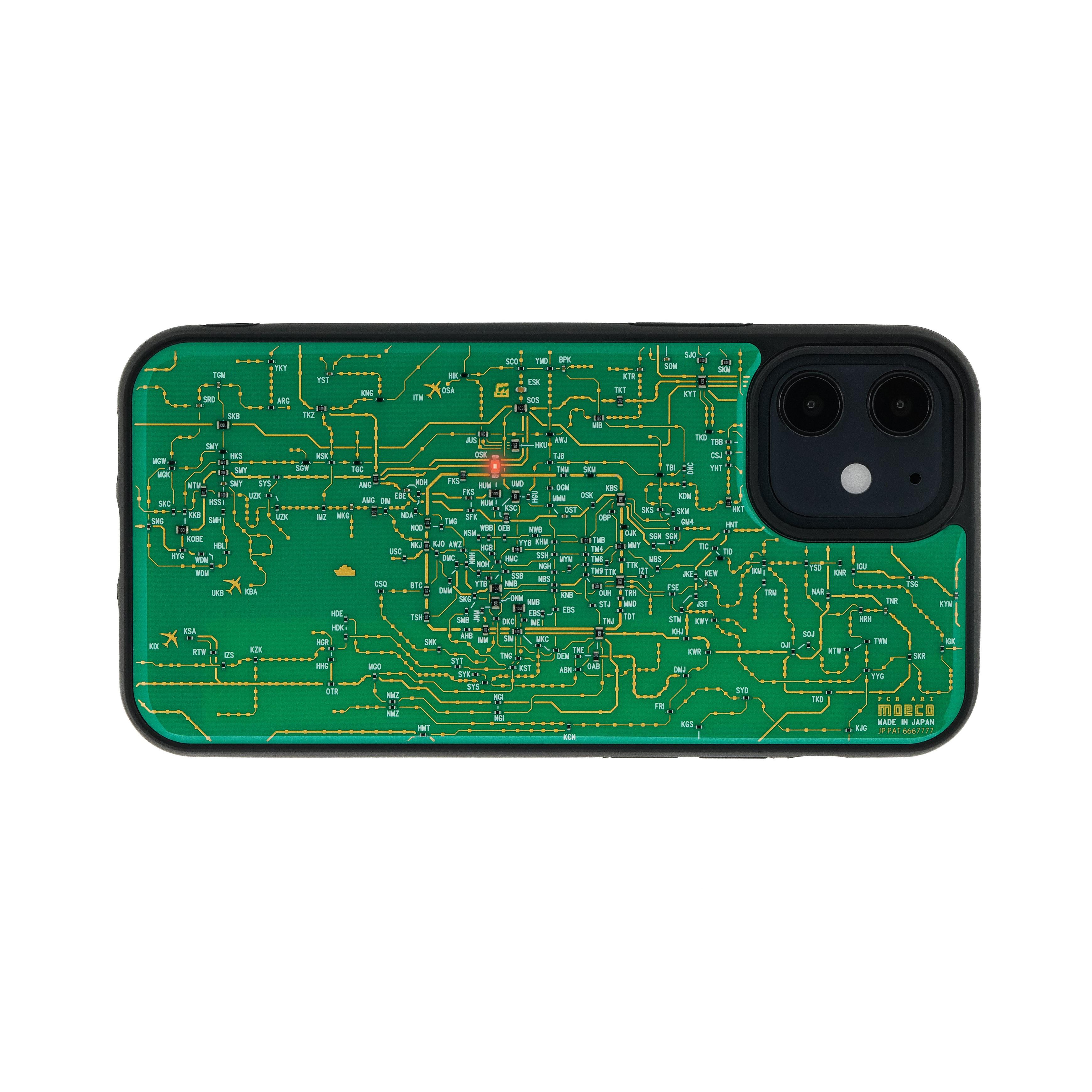 FLASH 関西回路線図 iPhone 12 mini ケース  緑【東京回路線図A5クリアファイルをプレゼント】