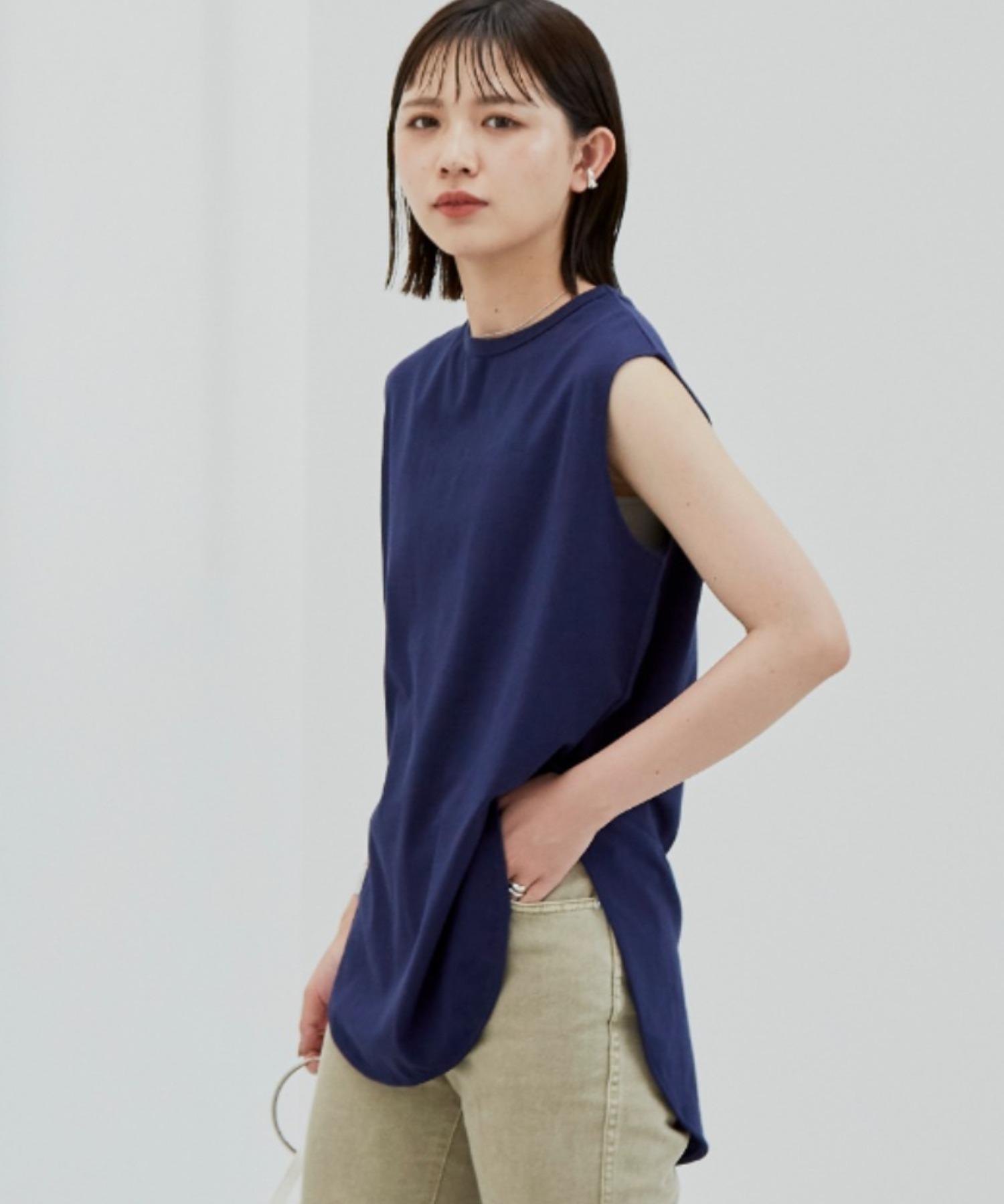 裾ラウンドスリットノースリーブTシャツ/NVY