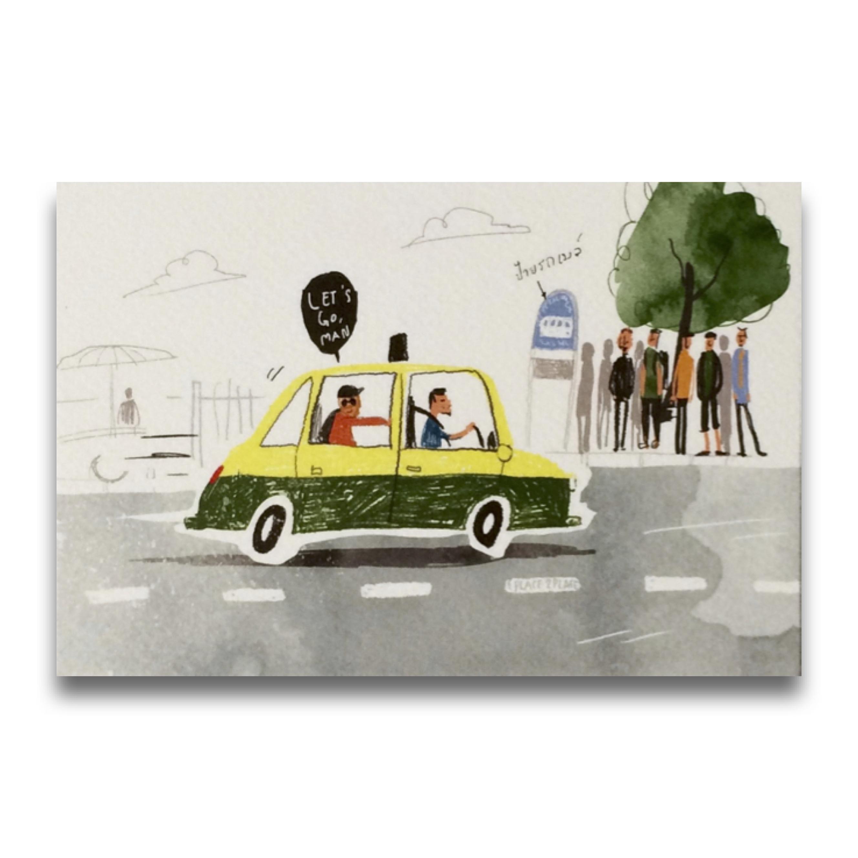 ポストカード タイの観光地 タクシー