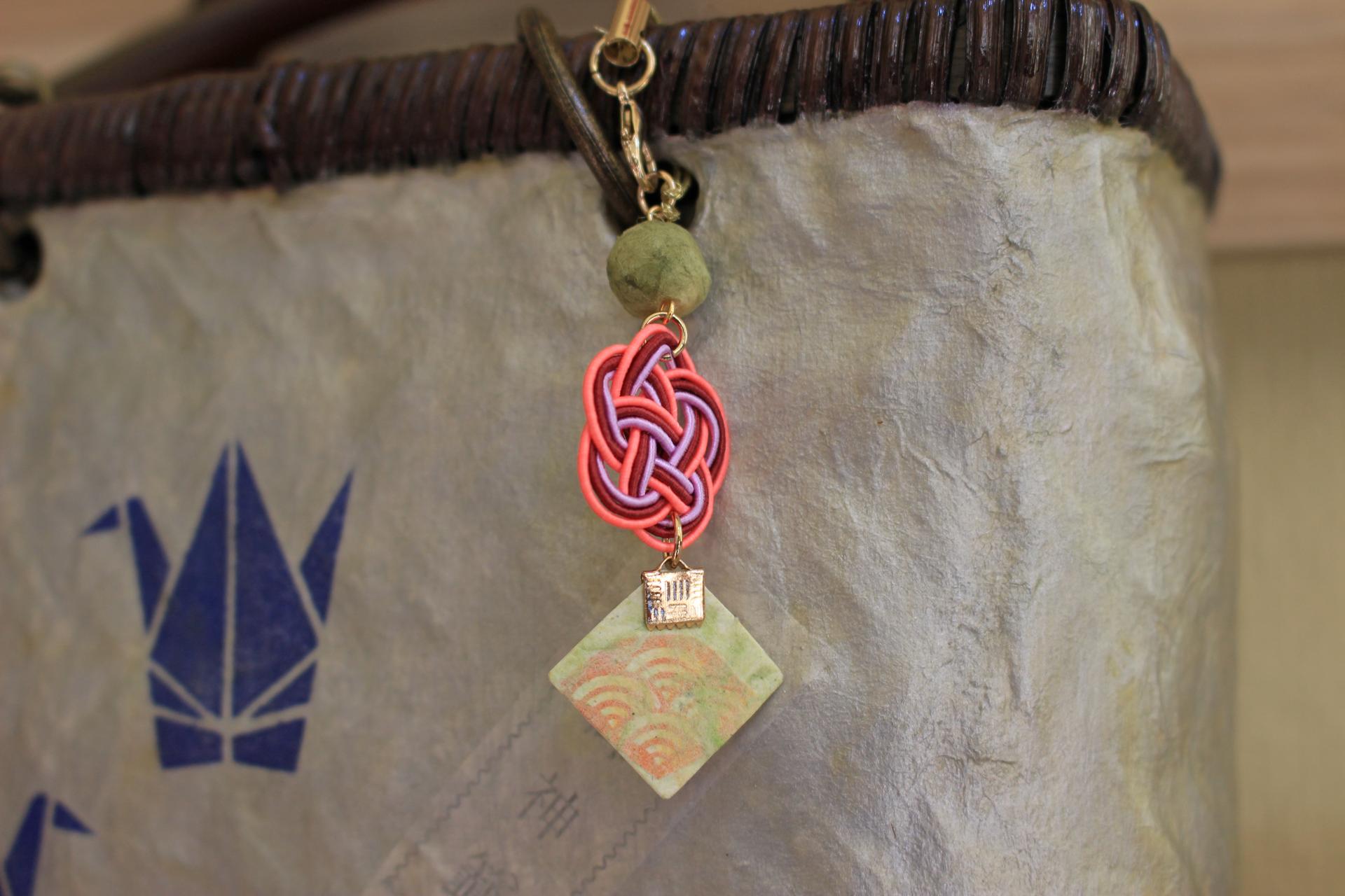 バッグチャーム④<Washi & Mizuhiki knot bag strap④>