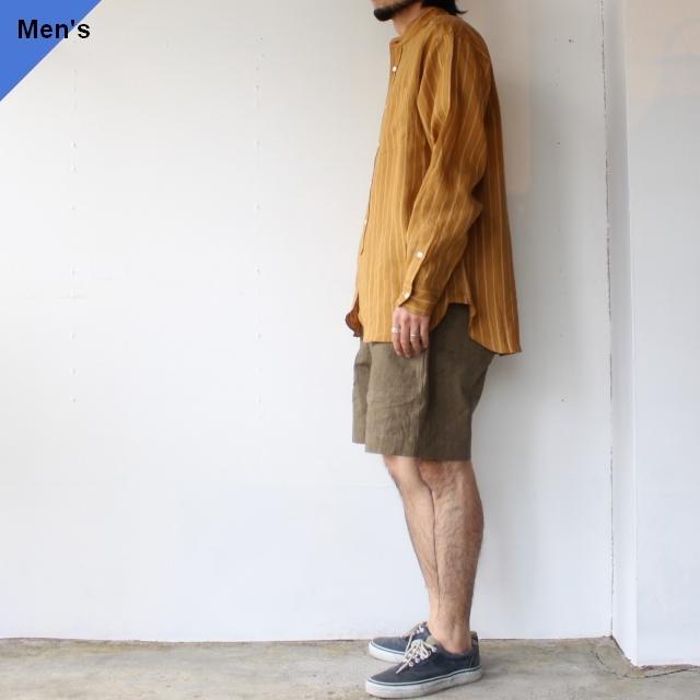 【ラスト1点】weac. ウィーク BIGMAN リネンルーズシルエットシャツ (Yellow brown)