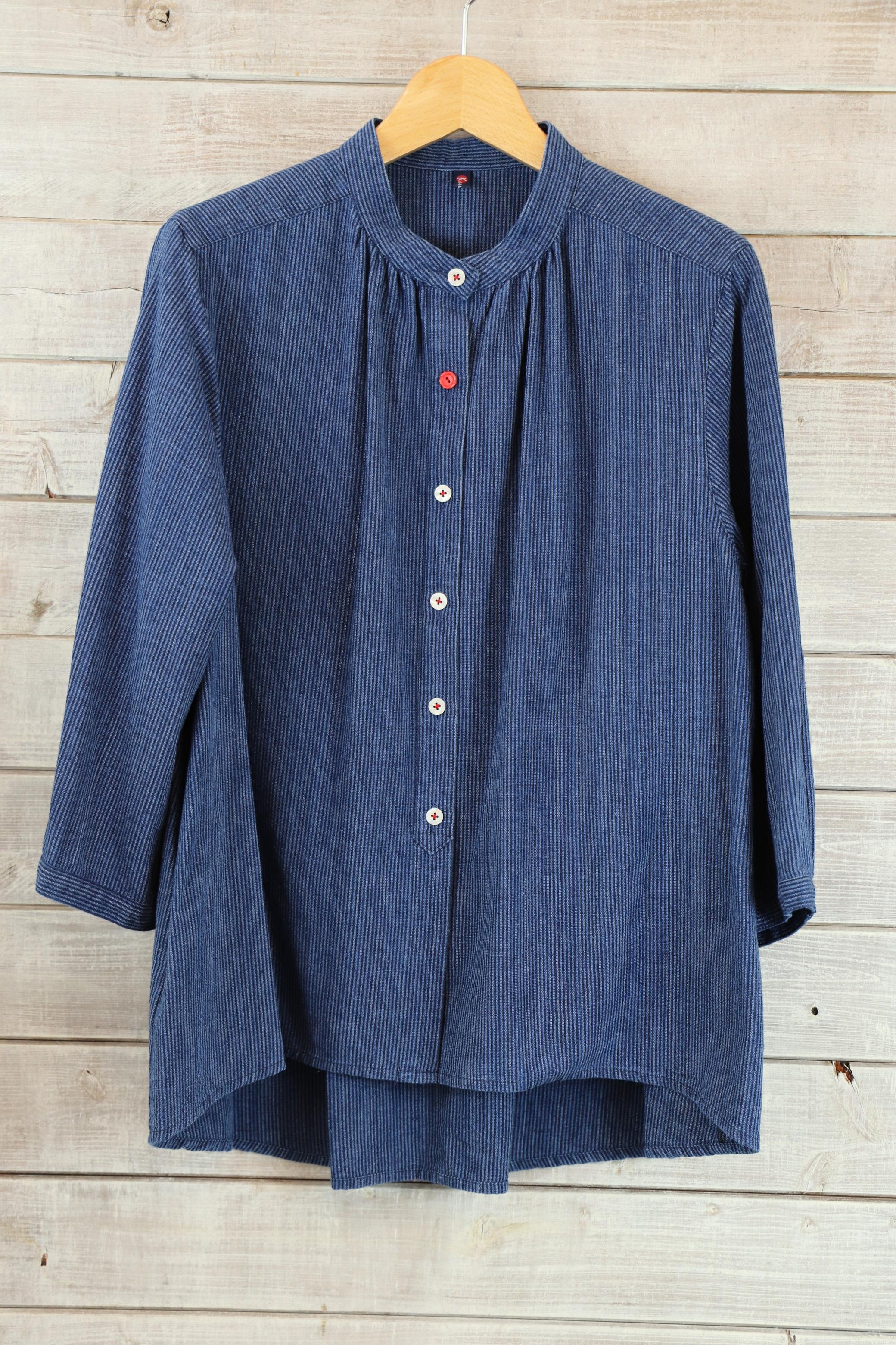 BL38 スタンドカラーブラウス 7分袖【K20 藍染縞柄】