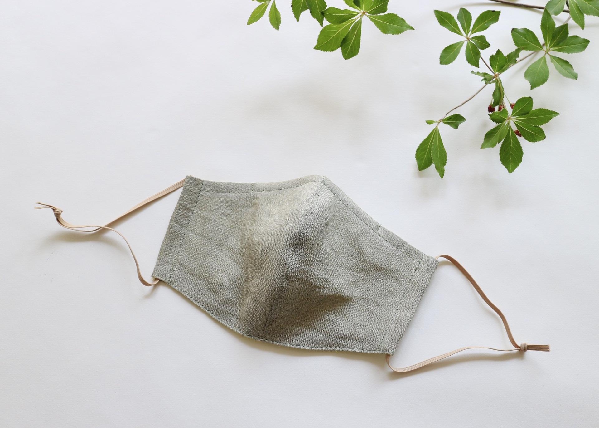 夏に涼しく心地よい リネンのマスク レギュラーサイズ(ライトカーキ)ノーズワイヤー入り、フィルターポケット付