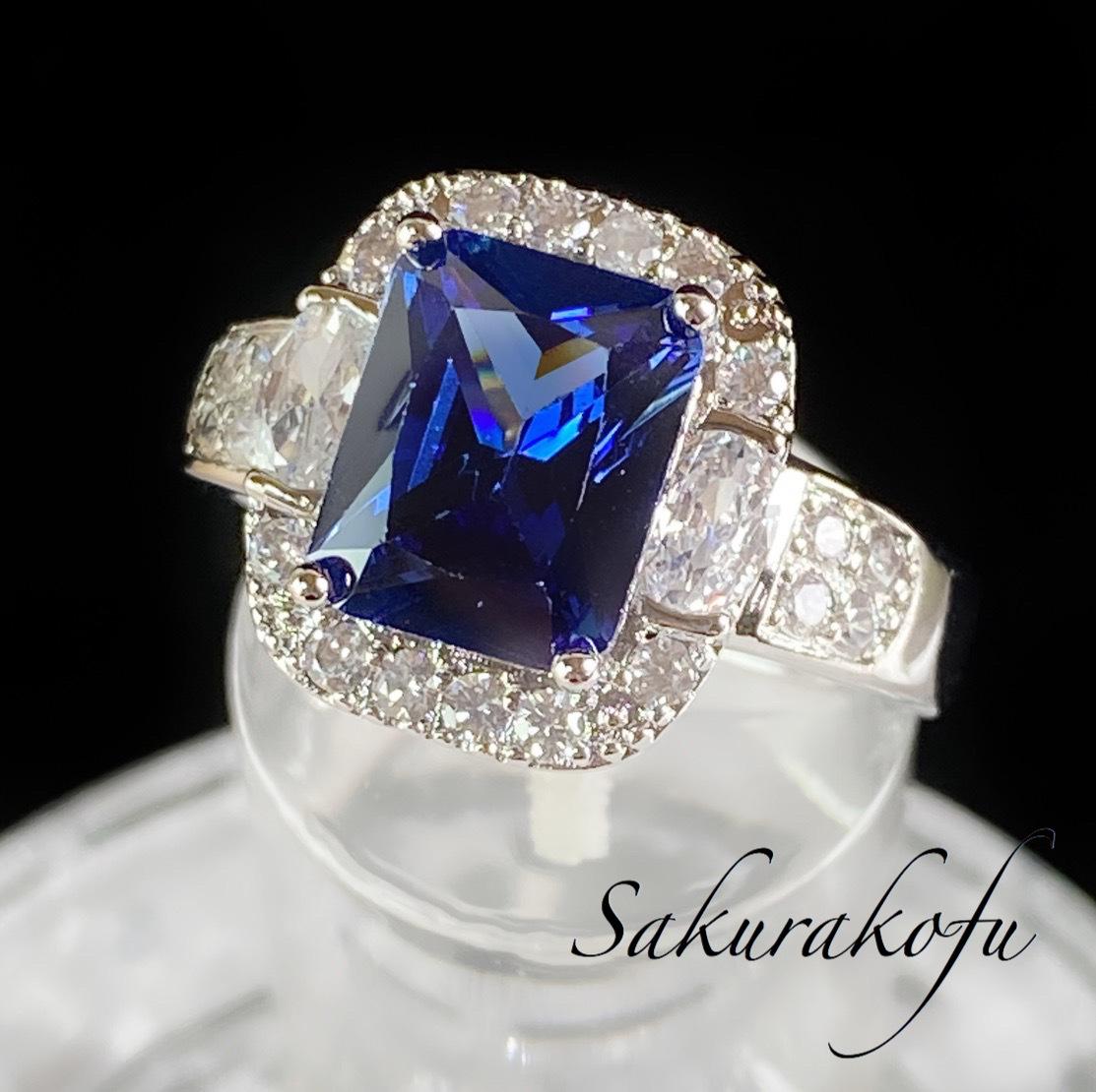 D047 プリンセスリング おおぶりサファイア レディース 指輪