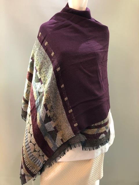 LARIOSETA イタリア製 ウールモダールジャガード織ショール EE620/10664