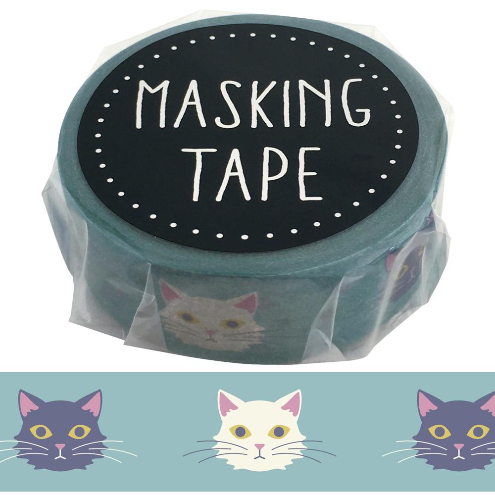 猫マスキングテープ(グレイッシュトーンネコ)幅15mm