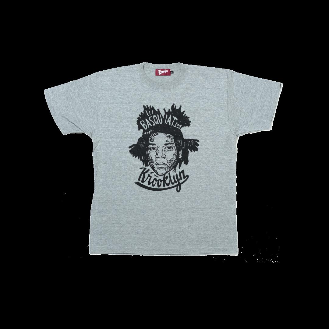 K'rooklyn T-Shirt × 上岡 拓也 BASQUIAT - Gray