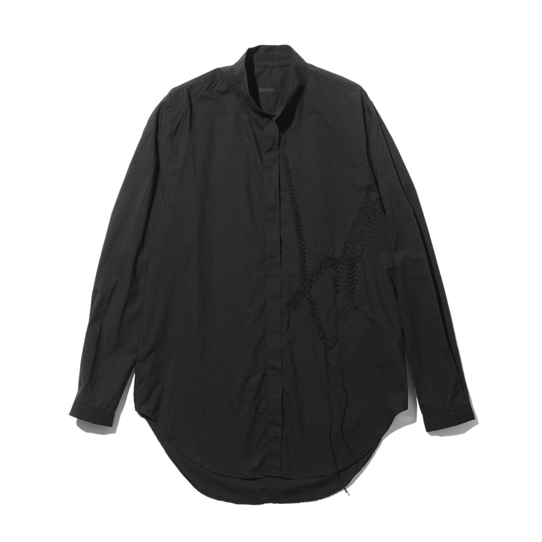 737SHM5-BLACK / 刺繍 スタンドカラーシャツ