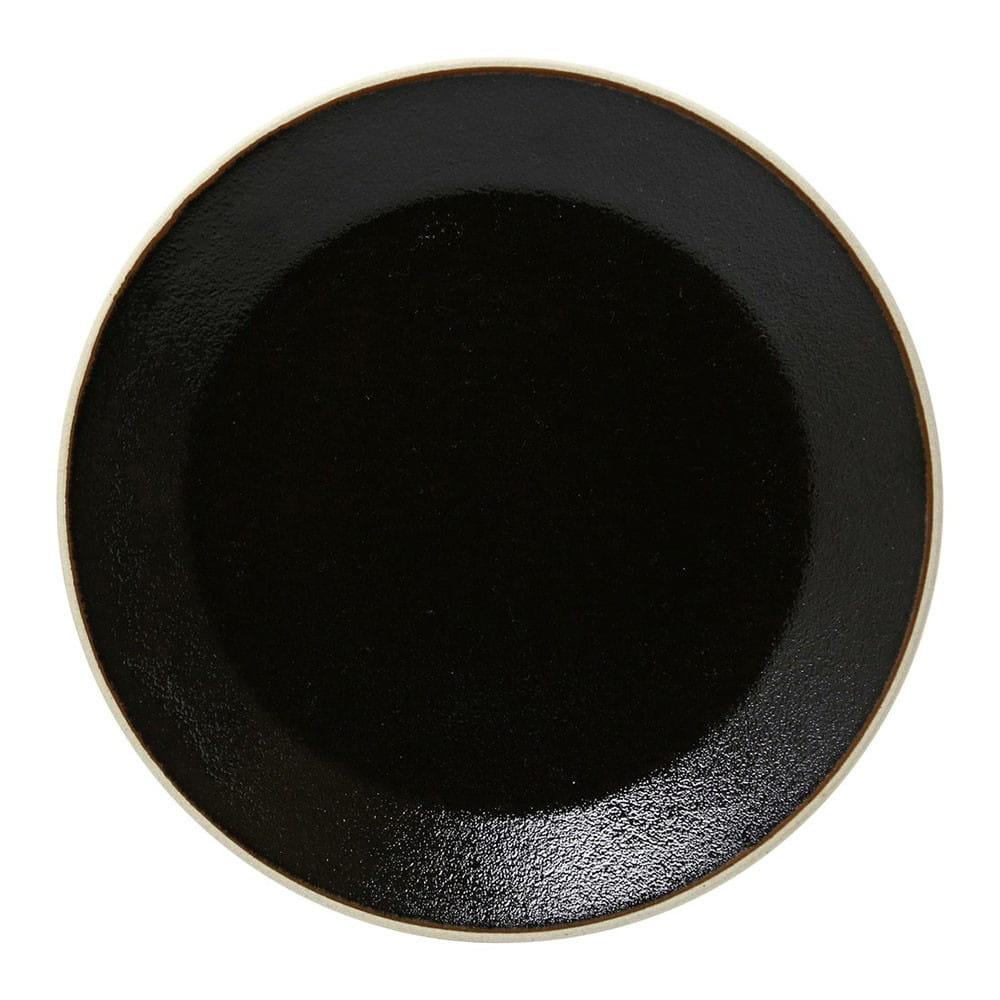 益子焼 つかもと窯 伝統釉 フラット プレート 皿 L ゆず肌黒 TH-2