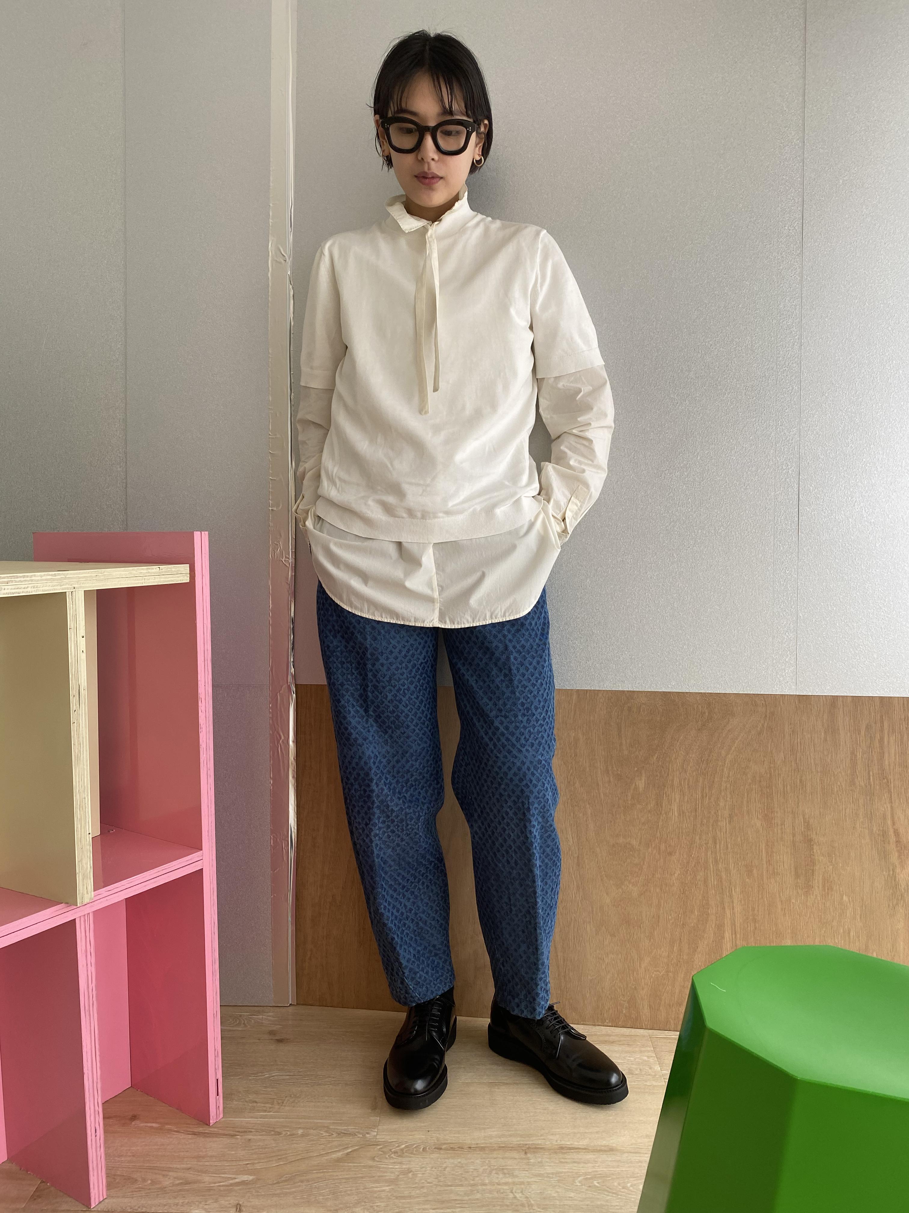 "High neck gather blouse ""Natural White"" organic cotton"