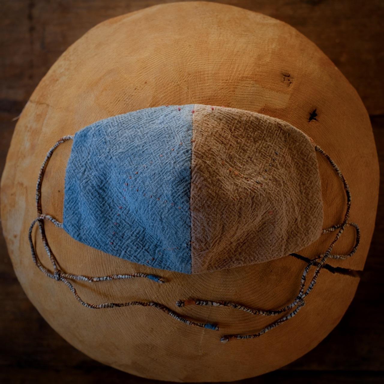 anima mask #76「transformation 変容 7」草木染め木綿とびわ染竹布 男性サイズ