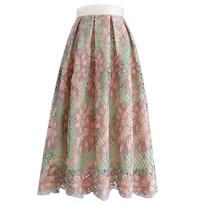 フラワー刺繍レースフレアスカート