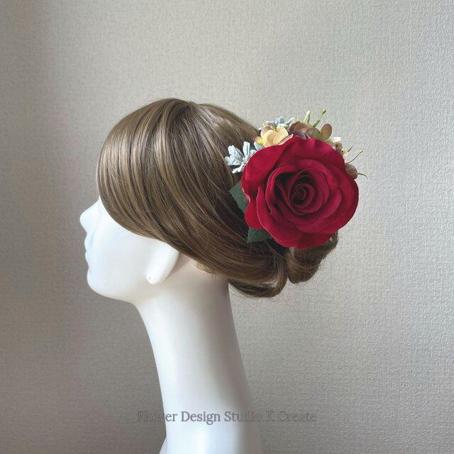 赤い薔薇とブラウンベージュの紫陽花の髪飾り フローレス 髪飾り ダンス 赤い薔薇 ヘアクリップ