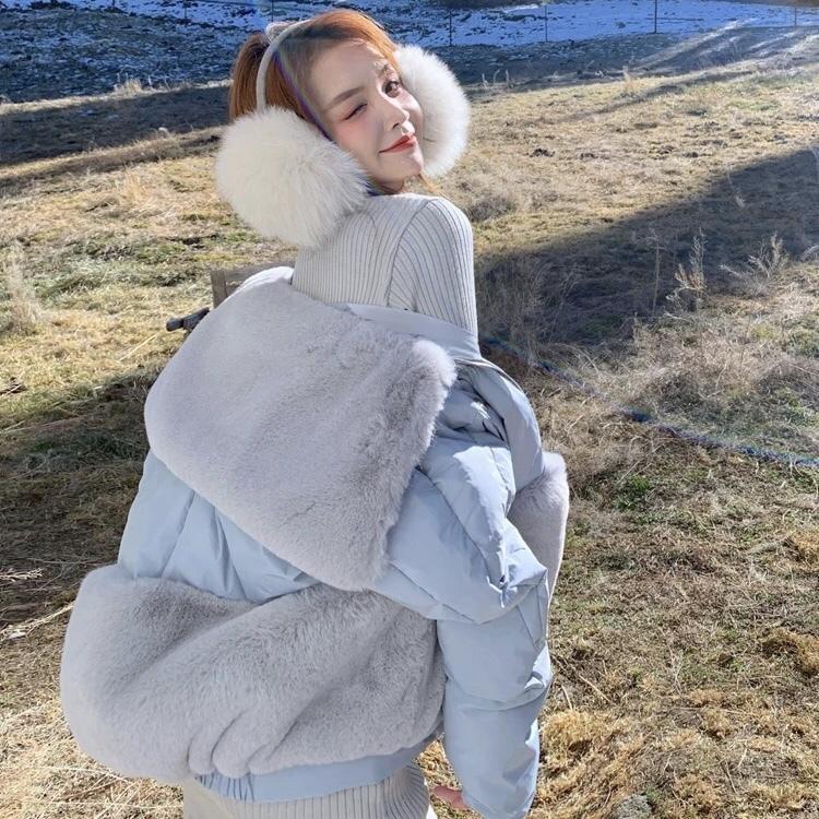 waist fur volume down jacket