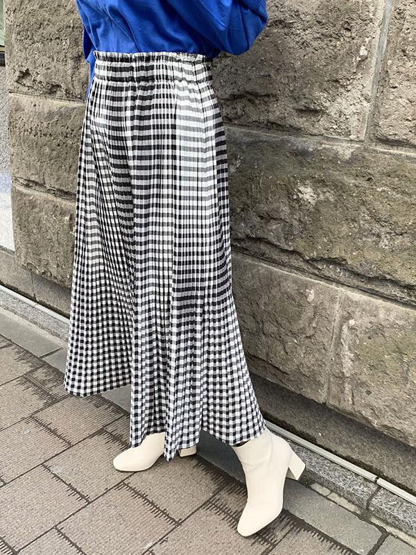 チェックプリーツスカート[Color:ブラック]