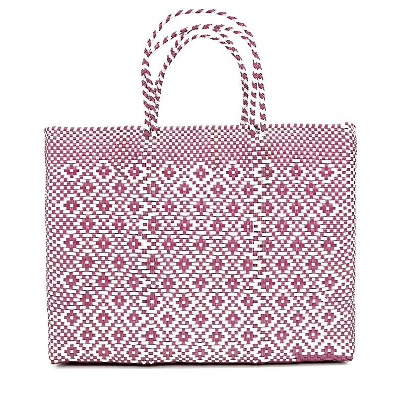 MERCADO BAG ROMBO METALIC - Metalic Pink x White(L)