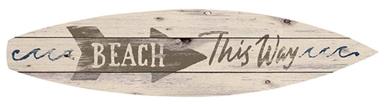 引続きセール主力商品20%OFF!  サーフボードサイン☆ウッドプラーク☆木製看板 (BEACH THIS WAY)