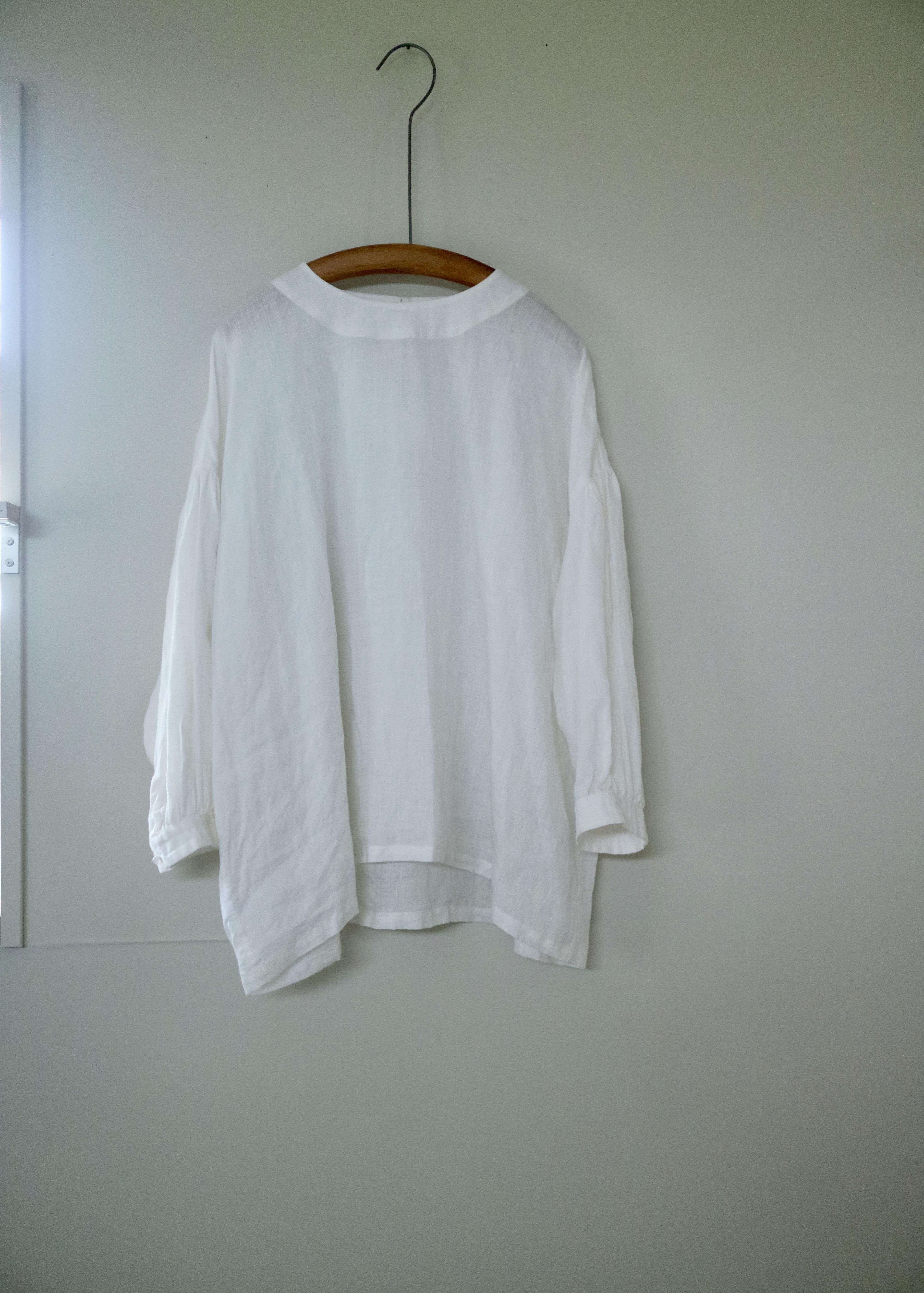 crewneck gather blouse  7部袖