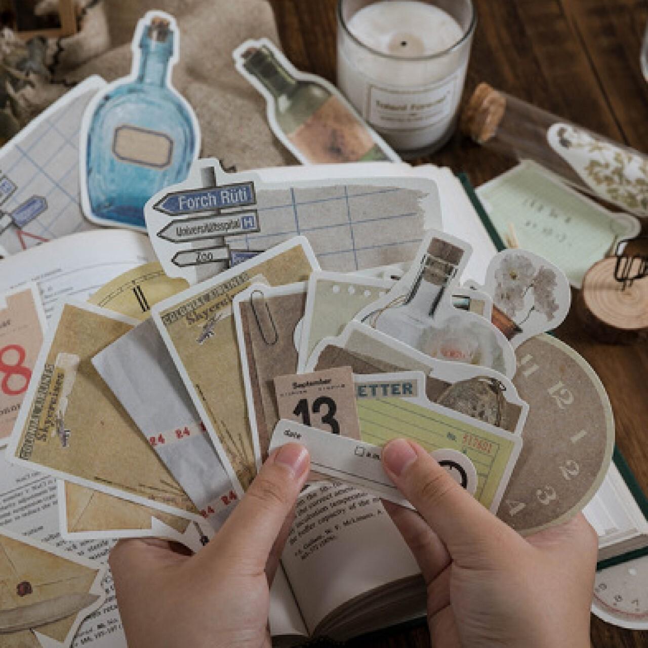 紙もの Retro style 全4種 ジャンクジャーナル コラージュ 素材 ボトル 旅行 時間 メモ レトロスタイル D01