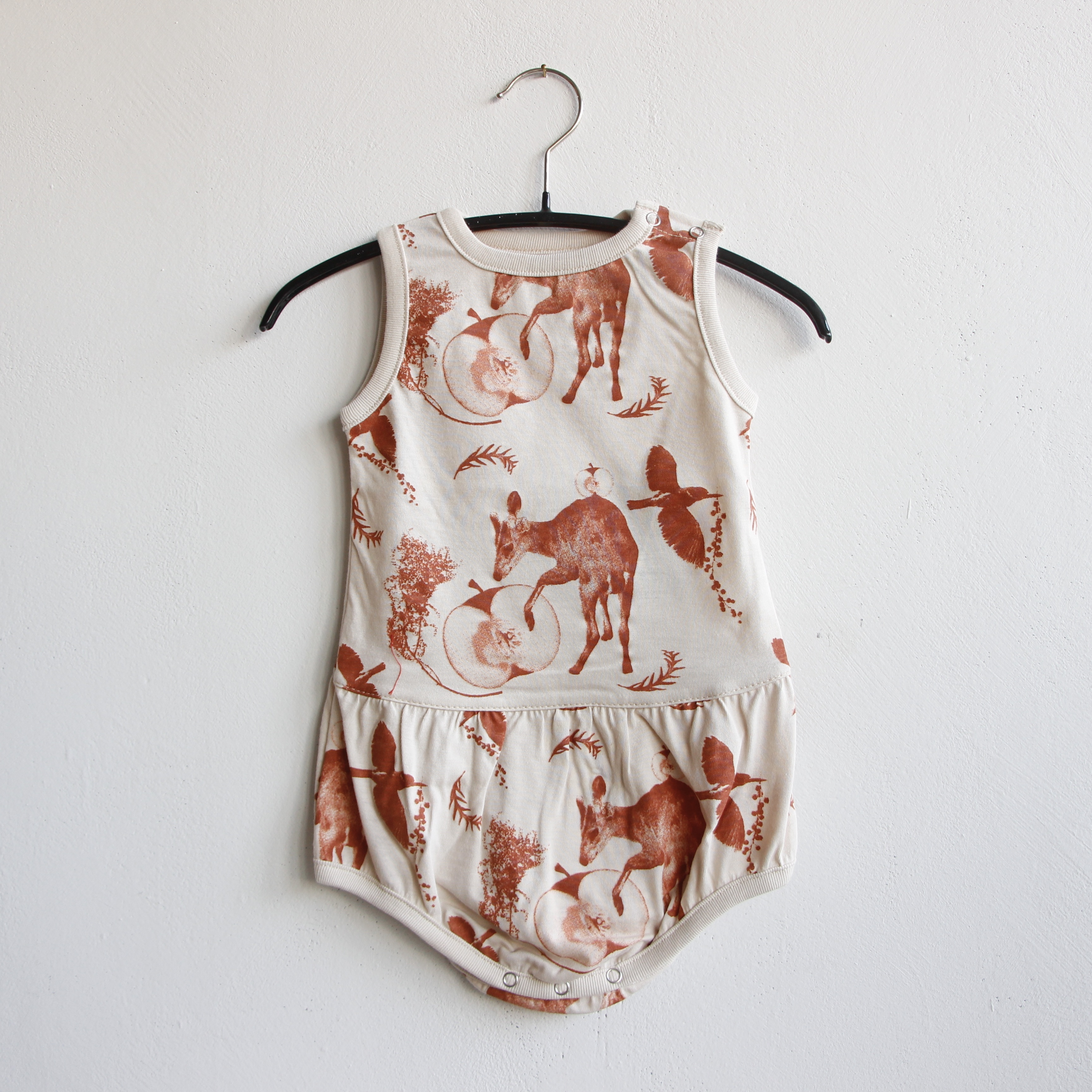 《michirico 2021SS》Flora and fauna rompers / beige