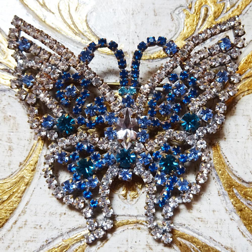 チェコ 蝶のビジューブローチ / ブルー