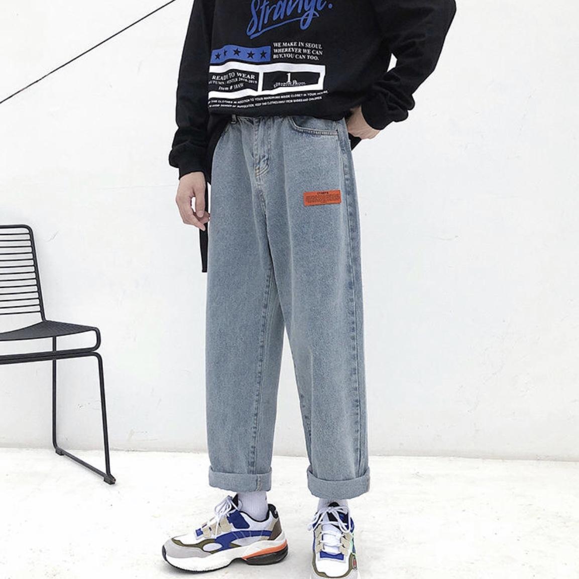 秋服 メンズストレートデニムパンツ ベルト付き ゆる感 韓国風