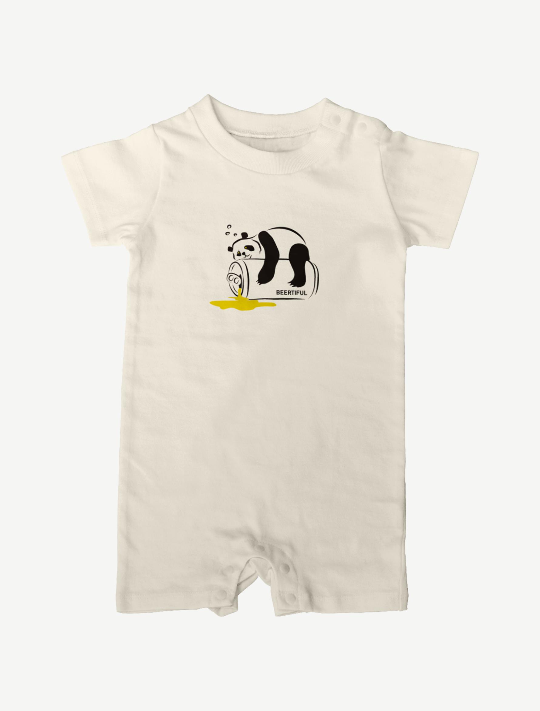 【ほろ酔いパンダ】ベイビーロンパース(ナチュラル)