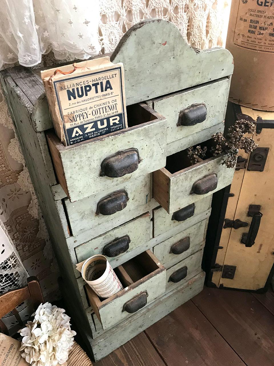 木製 スモーキーグリーン引き出し棚 ドロワー 道具棚