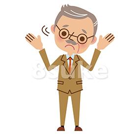 イラスト素材:困った表情で首を振る経営者・熟年のビジネスマン(ベクター・JPG)