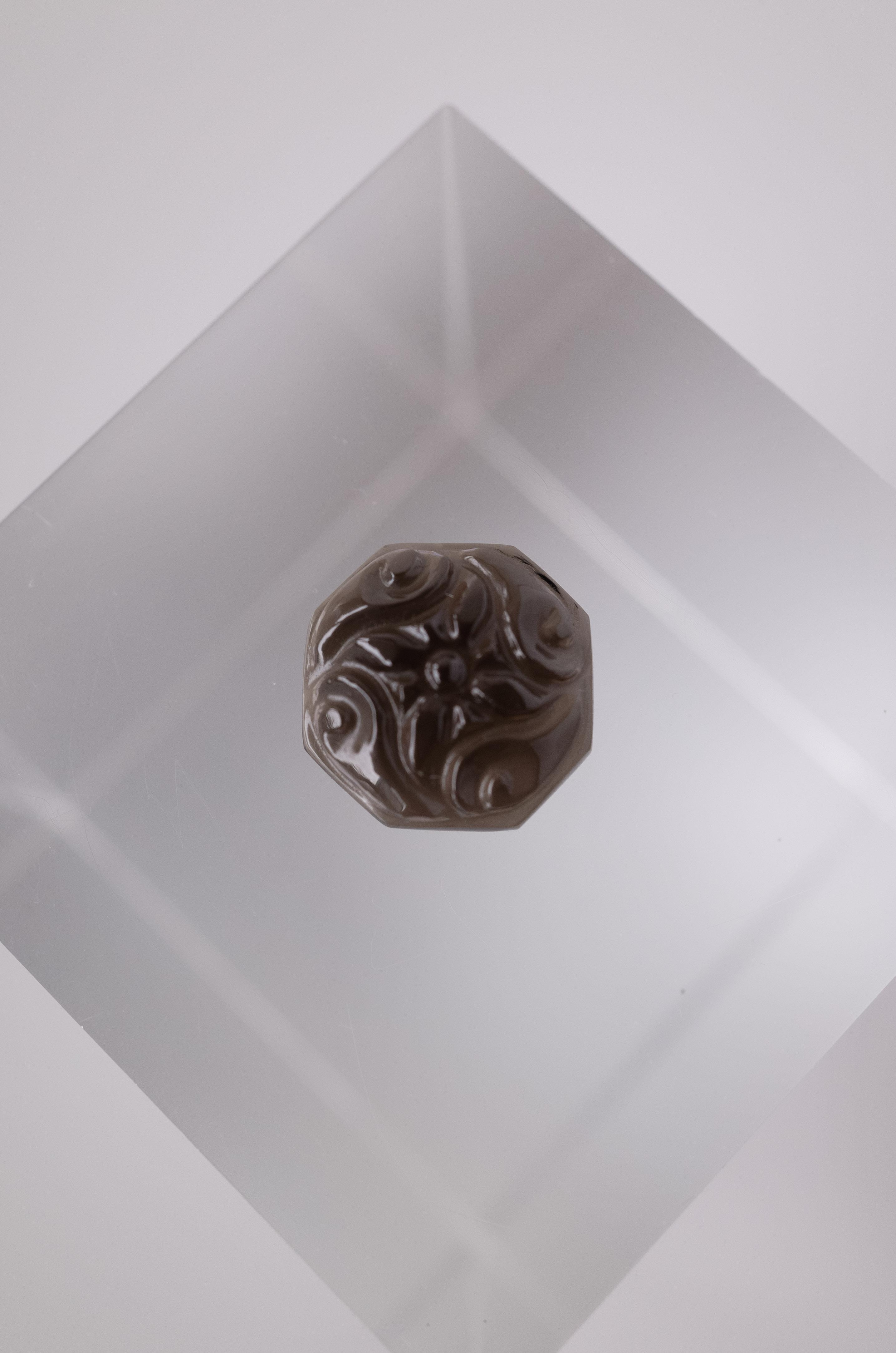 Flower Carving Smoky Quartz - 002