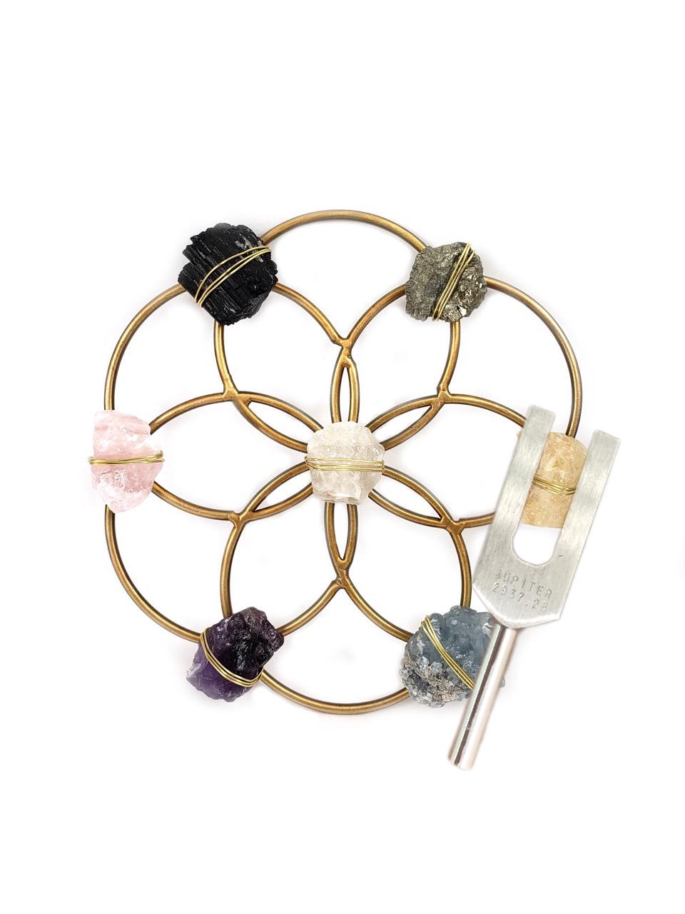 音叉付き、フラワーオブライフグリッド Tuning Fork & Multi Crystal Grid Instrument Set for Sound Healing