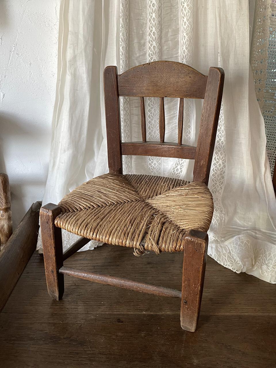 小さな木製チェア 椅子 ラッシュ dark brown