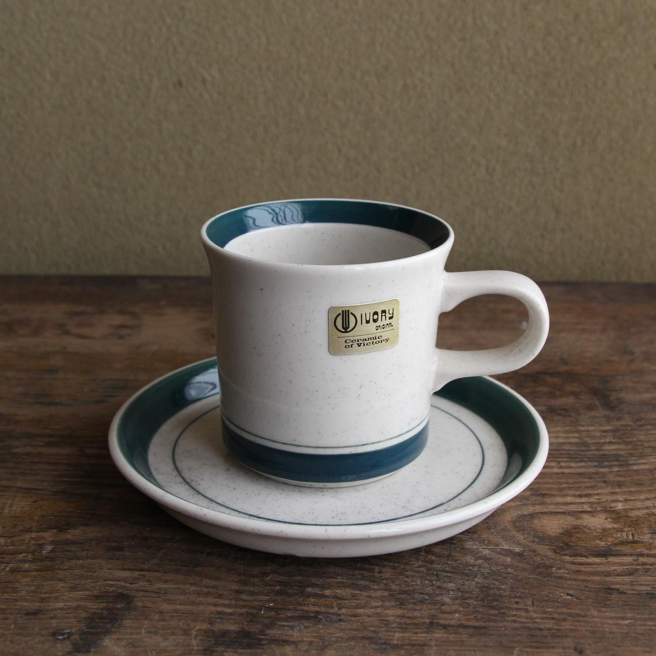 ivory ブルーグリーン ラインのカップ&ソーサー 在庫1客