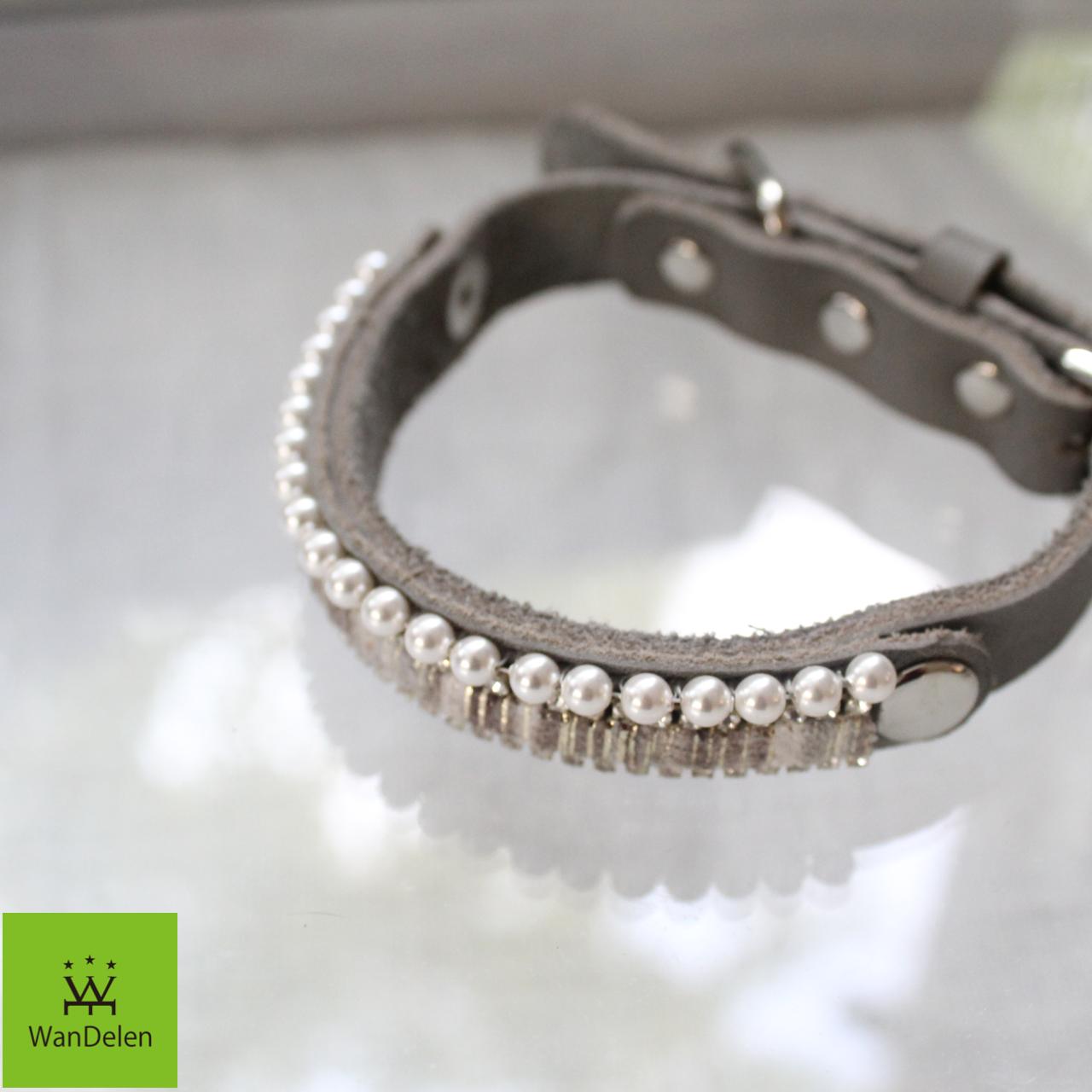""" WanDelen"" Dog Necklace (stripe grey)"