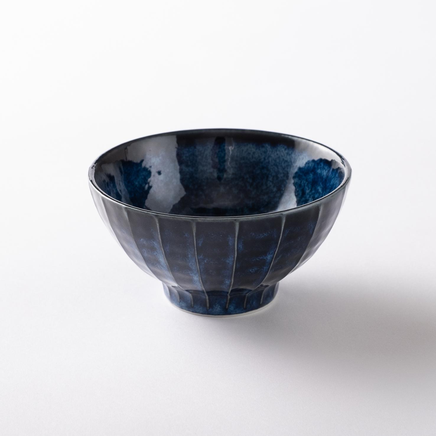 【美濃焼】お茶碗「縞一珍 飯碗 紺碧」