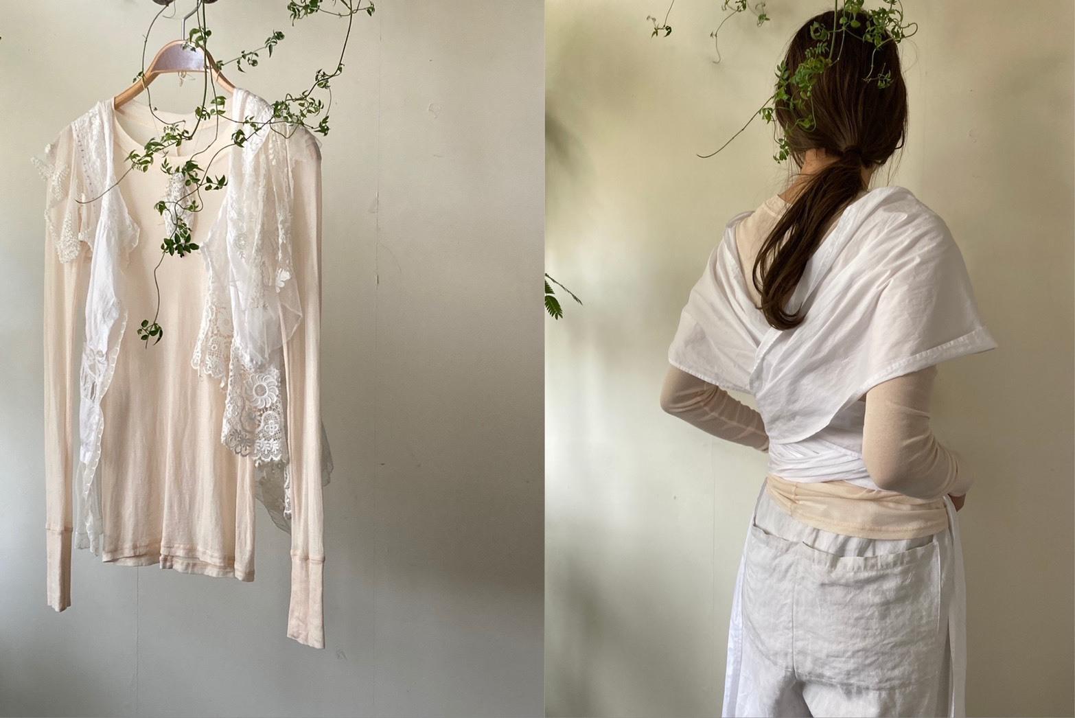 再販:seed 特別色 月桃染め DressBird オーガニックコットン ロングスリーブ Tシャツ