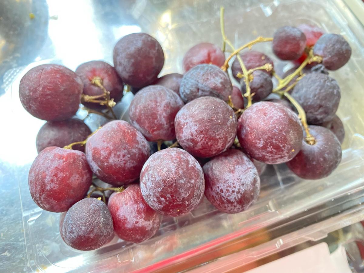 <果物エコロジー>ほんのり色づいたブドウ入手すき和紙薄口ポストカード(2枚セット)