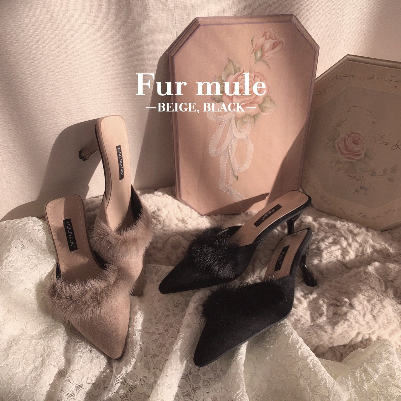 【meltie】fur mule