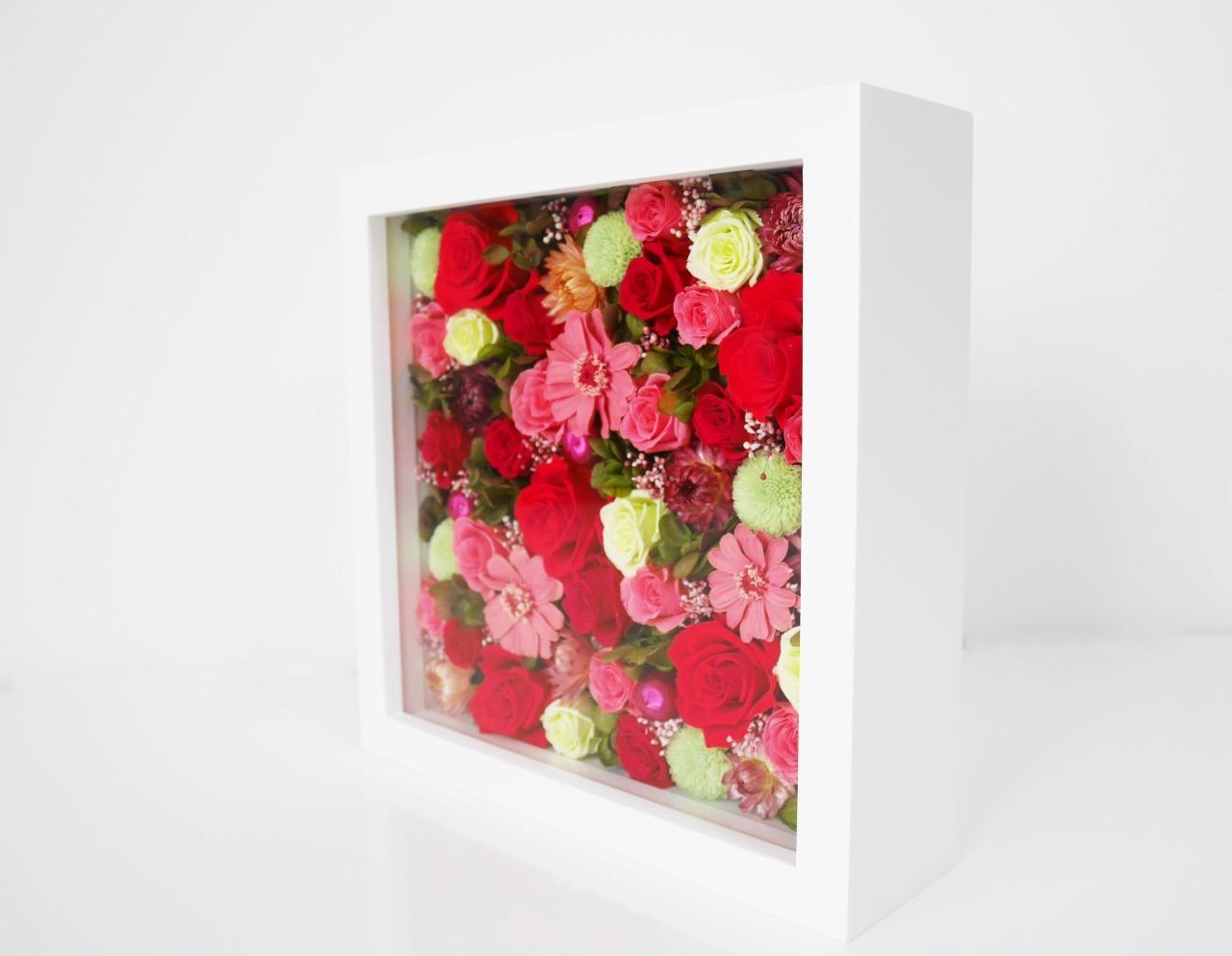 Framed preserved flower arrangement*Pink Square(フレームフラワーM*プリザーブドフラワー*ピンク)