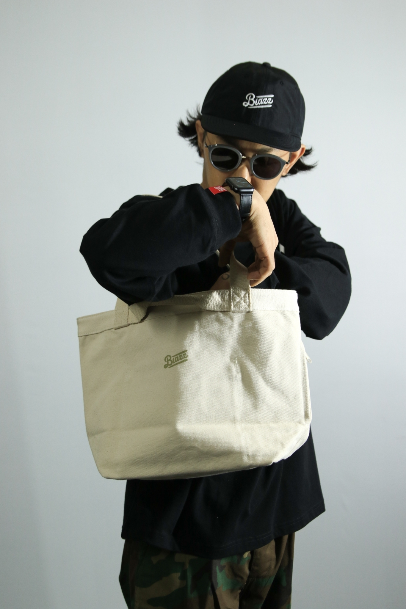 2WAY HEAVY CANVAS LOGO TOTE BAG [NATURAL]