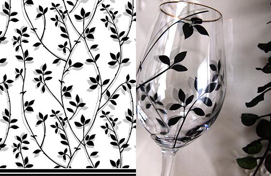 ガラス用 BRANCH ブランチ転写紙 ブラック(ポーセリンアート用転写紙 葉・木・小枝)