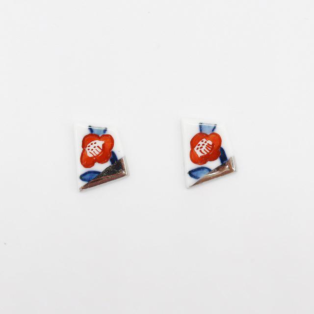 【eb2】染錦 椿 イヤリング/ピアス/ノンホールピアス/マスクピアス