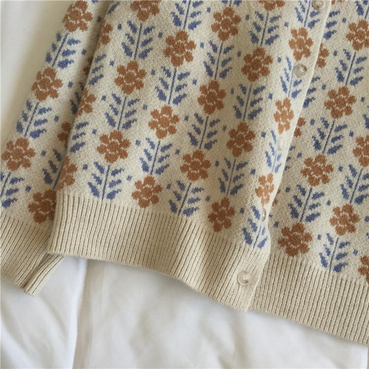 〈カフェシリーズ〉春のお花畑カーディガン【spring flower cardigan】