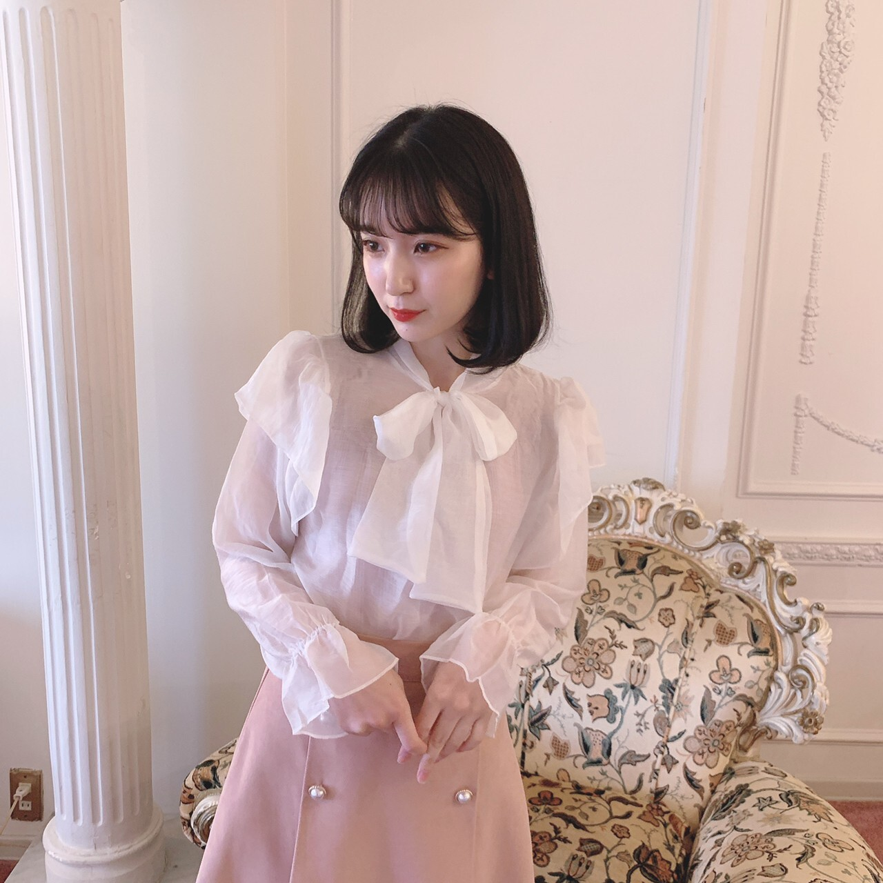 【meltie】ribbon tie sheer blouse