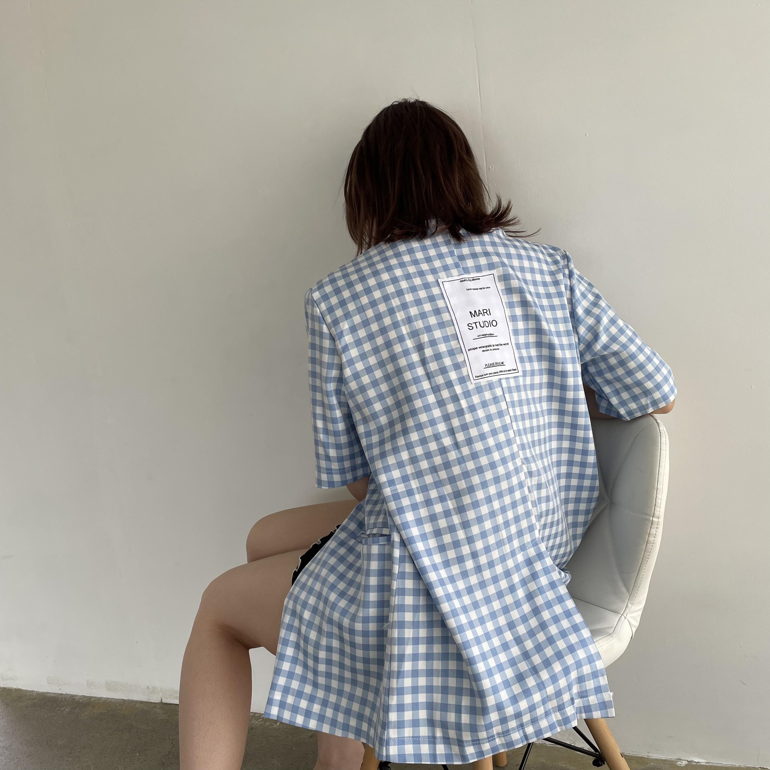 【Belle】check short sleeve jacket / blue