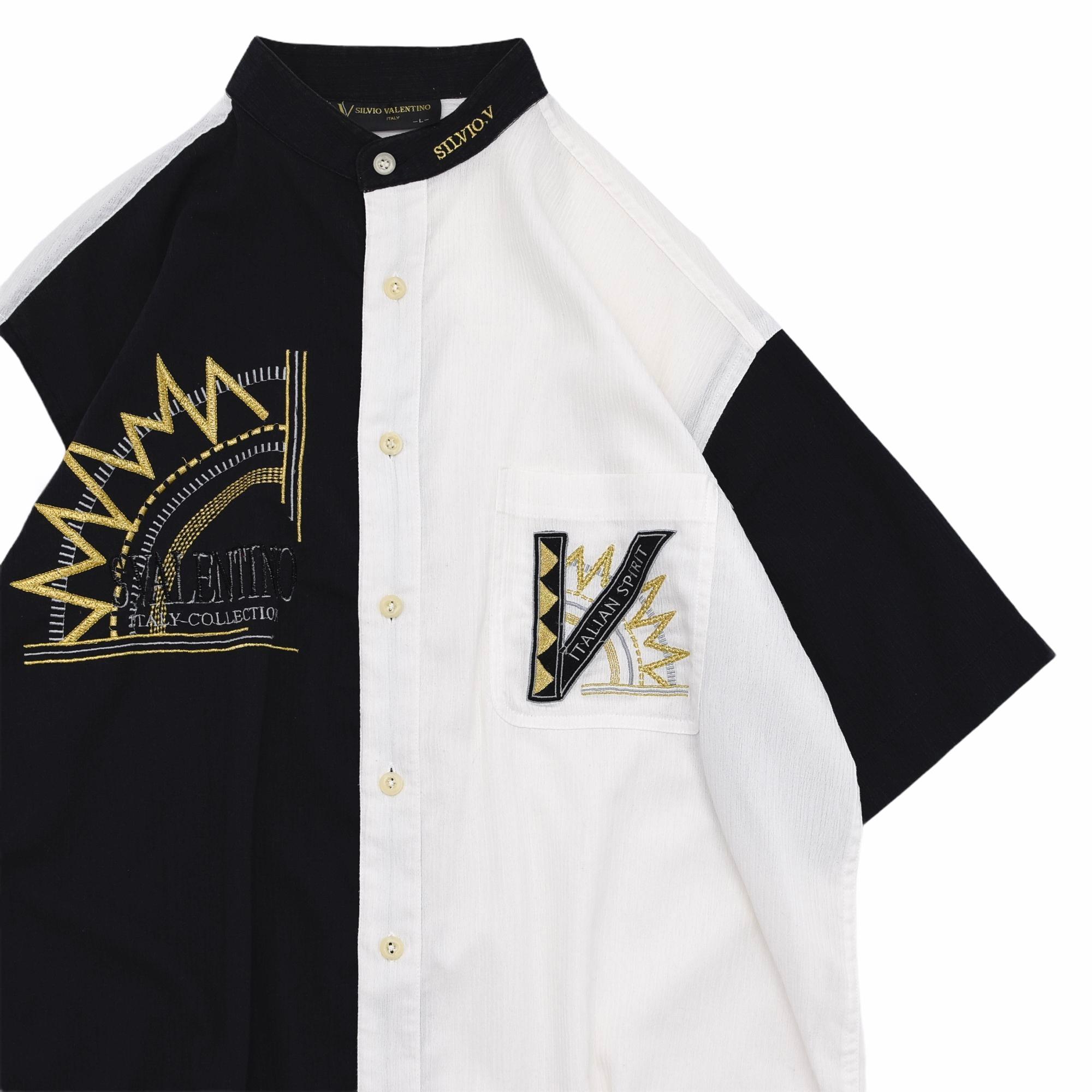 Mono tone design mao collar shirt
