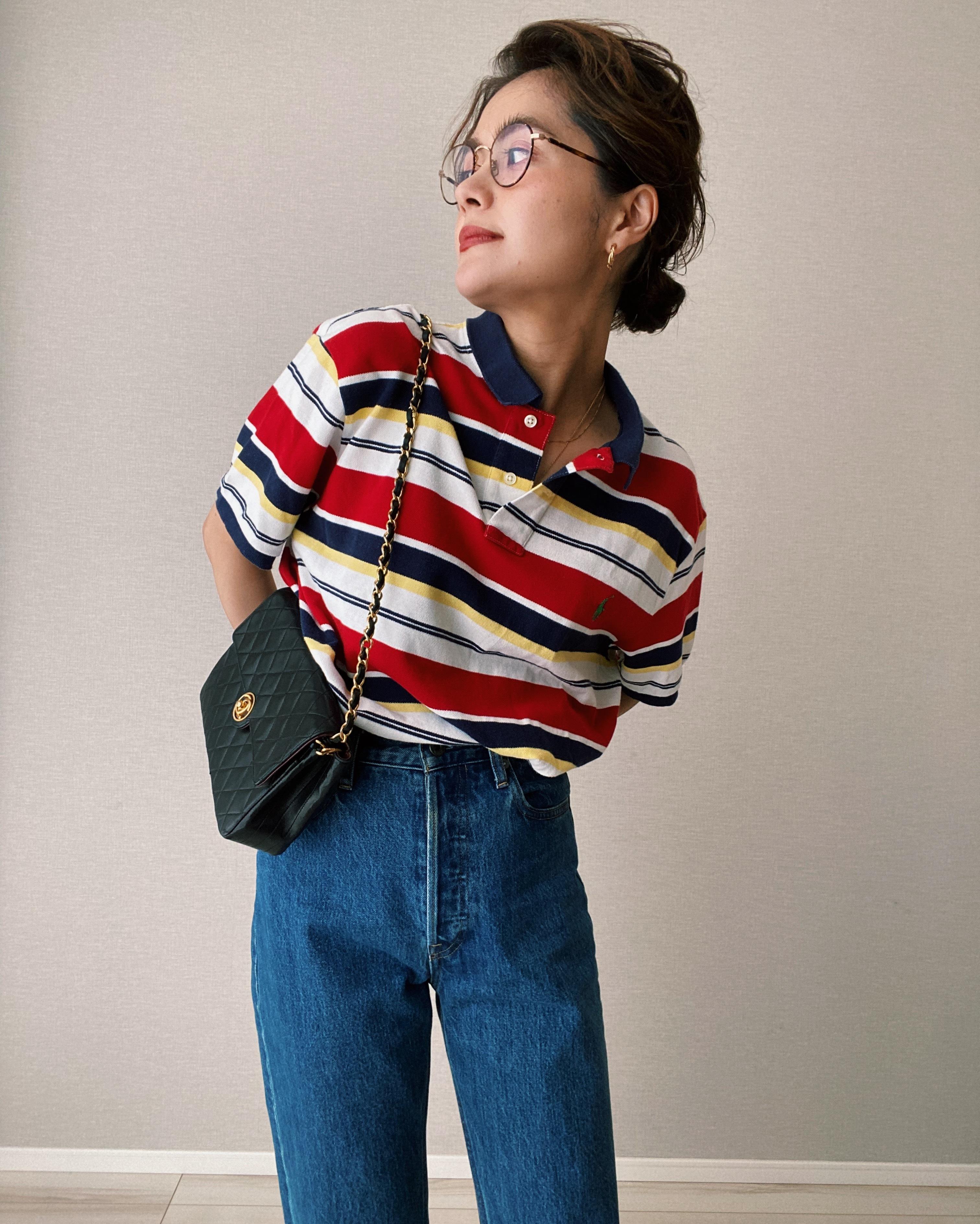 (SH256)Polo  Ralph Lauren multi border polo shirt