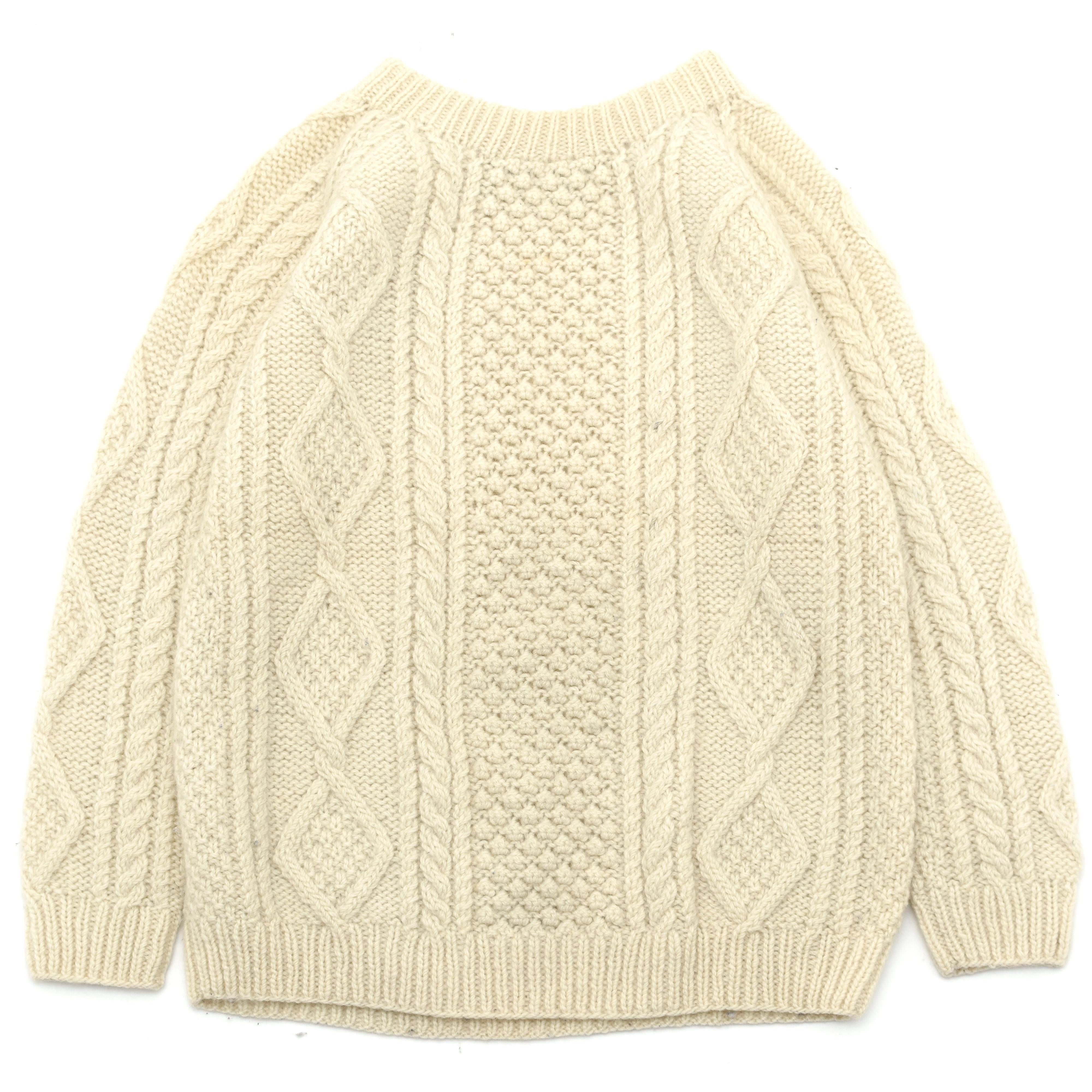 Hand Knit Aran Sweater Made UK