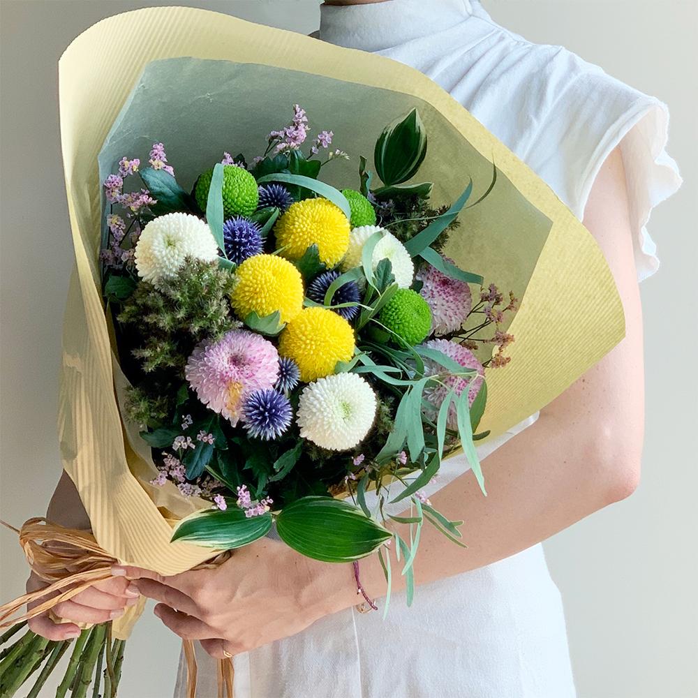 お盆の贈り花 ピンポンマムブーケ M【送料込】