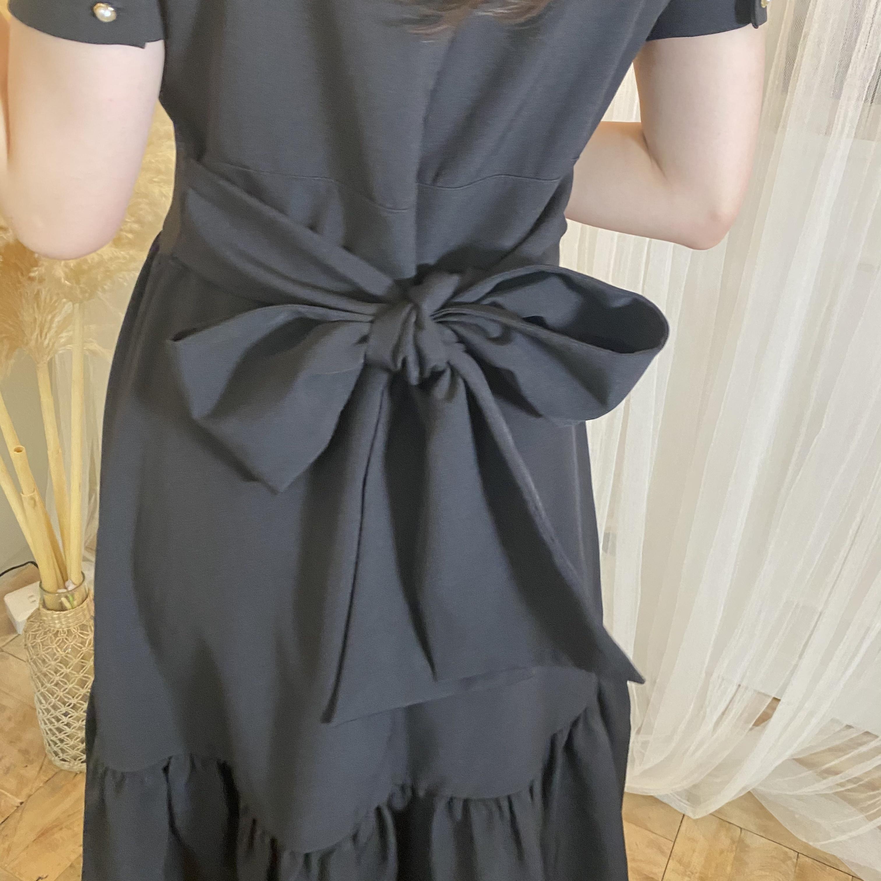 【original】back ribbon one piece(black)